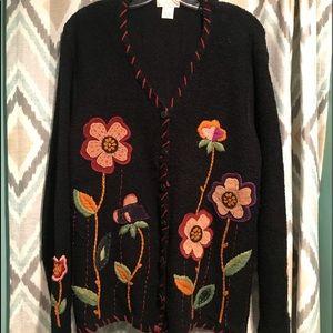Studio Works Womans Button Sweater Flowers Black L